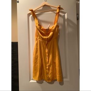 Off the Shoulder Yellow Capulet Dress